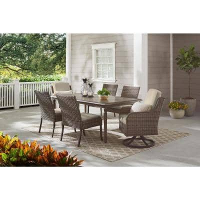 Windsor 7-Piece Brown Wicker Rectangular Outdoor Dining Set with CushionGuard Biscuit Tan Cushions