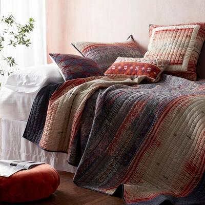 Kamala Multicolored Striped Cotton Blend Euro Sham
