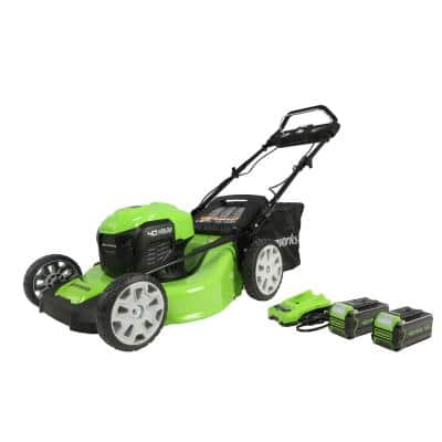 21 in. 40-Volt Battery Cordless Self-Propelled Lawn Mower with (2) 4.0 Ah USB Battery and Charger