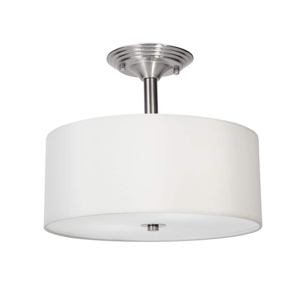 Merra 13 In 2 Light Brushed Nickel Semi Flush Mount Light With Fabric Drum Shade Hcf 1313 Bn Bnhd 1 The Home Depot
