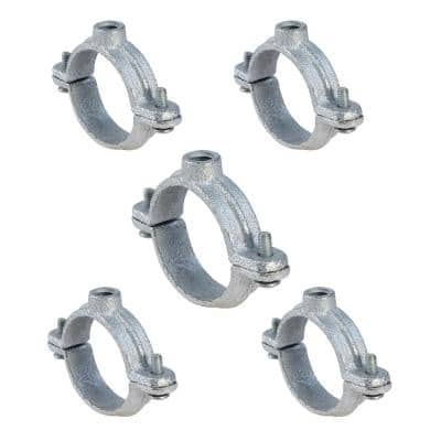 4 in. 2-Piece Split Ring Pipe Hanger in Galvanized Malleable Iron (5-Pack)