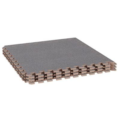 Gray 24 in. x 24 in. EVA Foam Floor Mat with Carpet Top (6-Pack)