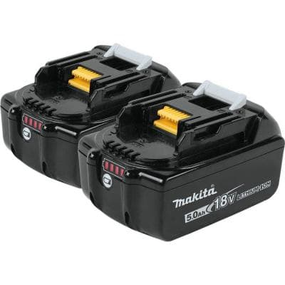 18-Volt LXT Lithium-Ion High Capacity Battery Pack 5.0 Ah with LED Charge Level Indicator (2-Pack)