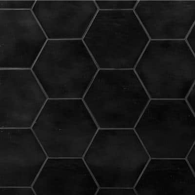 Appaloosa Black Hexagon 7 in. x 8 in. Porcelain Floor and Wall Tile (10.76 sq. ft./Case)