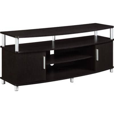 Windsor 47 in. Dark Brown Particle Board TV Stand Fits TVs Up to 50 in. with Storage Doors