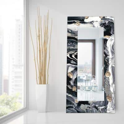 72 in. x 36 in. Ebony and Ivory Rectangle Framed Printed Tempered Art Glass Beveled Accent Mirror