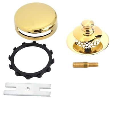Universal NuFit Push Pull Bathtub Stopper with Grid Strainer, Combo Pin Kit, Polished Brass