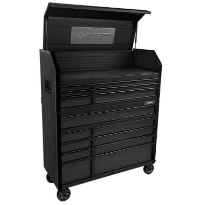 Industrial 52 in. W x 21.5 in. D 15-Drawer Tool Chest and Rolling Cabinet Combo with LED Light in Matte Black