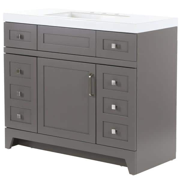 Home Decorators Collection Rosedale 42 In W X 19 In D Bath Vanity In Taupe Gray With Cultured Marble Vanity Top In White With White Sink Rd42p2 Tg The Home Depot