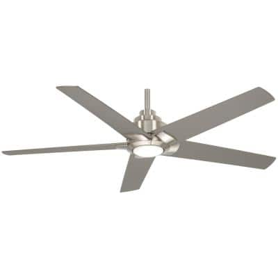 Mickelson 52 in. Integrated LED Indoor Brushed Nickel Dual Mount Ceiling Fan with Light