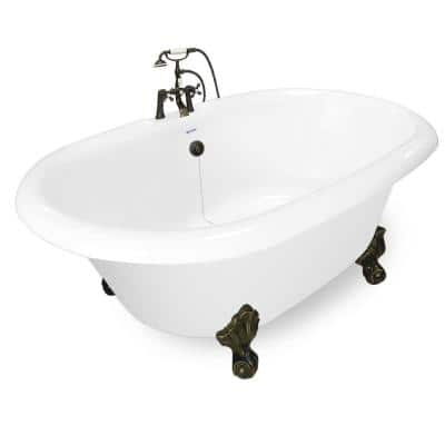 72 in. Acrylic Double Clawfoot Non-Whirlpool Bathtub in White w/ Large Ball, Claw Feet Faucet in Old World Bronze