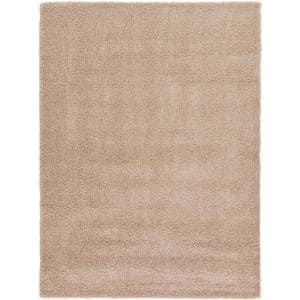 Solid Shag Taupe 8 ft. x 11 ft. Area Rug