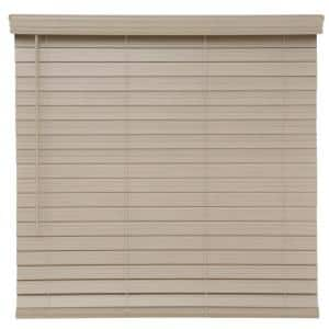 Driftwood Gray Cordless Room Darkening 2.5 in. Premium Faux Wood Blind for Window - 47 in. W x 48 in. L