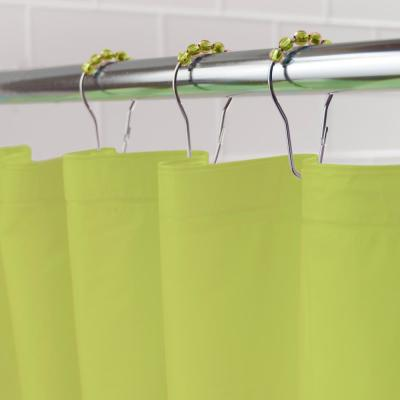 """Medium Weight PEVA Shower Curtain Liner and Beaded Roller Ring Set, 70"""" W x 72"""" H, Green"""