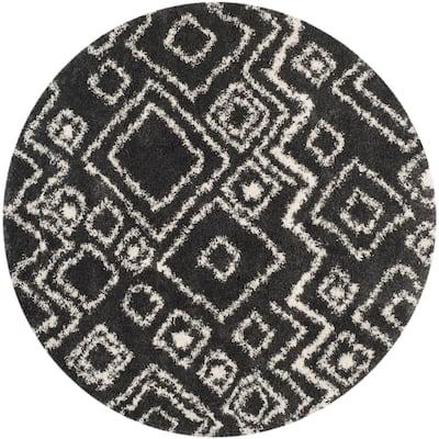 Belize Shag Charcoal/Ivory 7 ft. x 7 ft. Round Geometric Tribal Area Rug