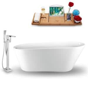 Tub, Faucet, and Tray Set 69 in. Acrylic Flatbottom Non-Whirpool Bathtub in Glossy White