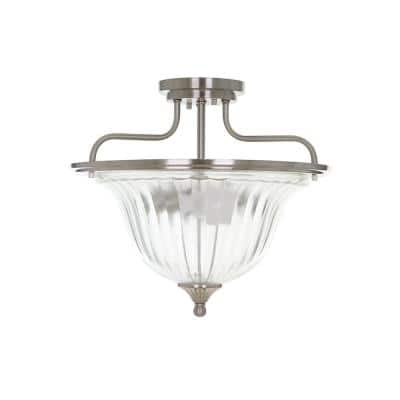 13 in. Brushed Nickel Traditional Semi Flush Mount and LED Bulb
