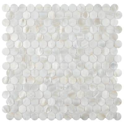 Conchella Mini Penny White 11-1/2 in. x 11-5/8 in. x 2 mm Natural Seashell Mosaic Tile (0.93 sq. ft./Each)
