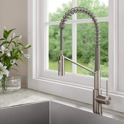 Oletto Single-Handle Pull-Down Sprayer Kitchen Faucet in all-Brite Spot-Free Stainless Steel