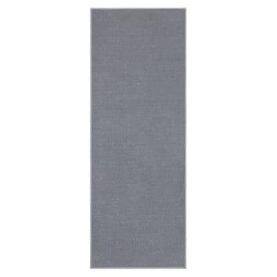 Ottohome Collection Solid Design Gray 2 ft. 3 in. x 6 ft. Runner Rug