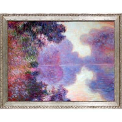 """46 in. x 36 in. """"Misty Morning on the Seine, 1897 with Versailles Silver King Frame"""" by Claude Monet Framed Wall Art"""