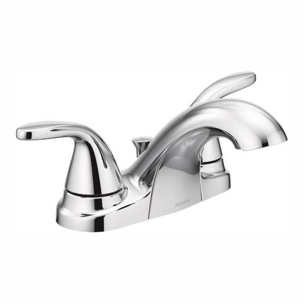 Moen Adler 4 In Centerset 2 Handle Low Arc Bathroom Faucet In Chrome 84603 The Home Depot