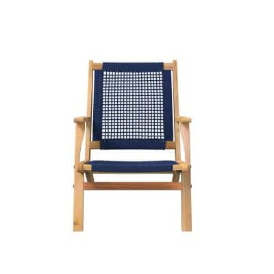 Folding Wood Outdoor Lounge Chair in Navy Blue