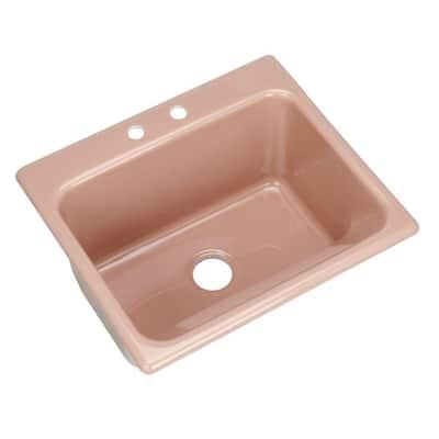 Kensington Drop-In Acrylic 25 in. 2-Hole Single Bowl Utility Sink in Wild Rose