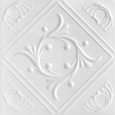 Diamond Wreath 1.6 ft. x 1.6 ft. Glue Up Foam Ceiling Tile in Plain White (21.6 sq. ft./case)