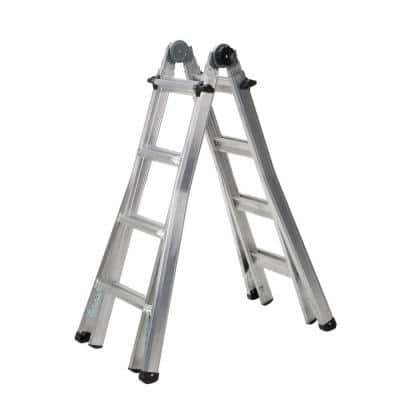 18 ft. Reach Aluminum Telescoping Multi-Position Ladder with 300 lb. Load Capacity Type IA Duty Rating