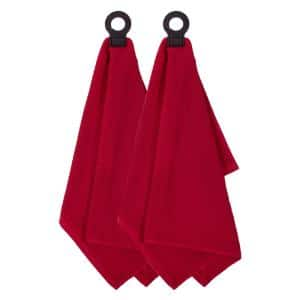 Hook and Hang Paprika Woven Cotton Pattern Kitchen Towel (Set of 2)