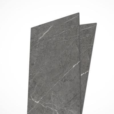 Pietra Dark Gray 11.5 in. x 23.5 in. Peel and Stick Faux Marble Renoboard (10-Tiles, 18.8 sq. ft.)