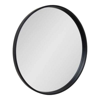 Medium Round Black Modern Mirror (32 in. H x 32 in. W)