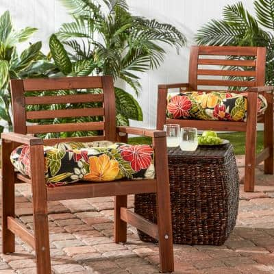 Aloha Floral Black Square Tufted Outdoor Seat Cushion (2-Set)