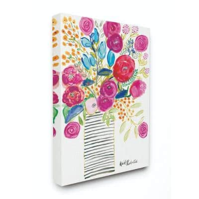 """16 in. x 20 in. """"Pink and Blue Flower Drawing"""" by Penny Lane Publishing Canvas Wall Art"""