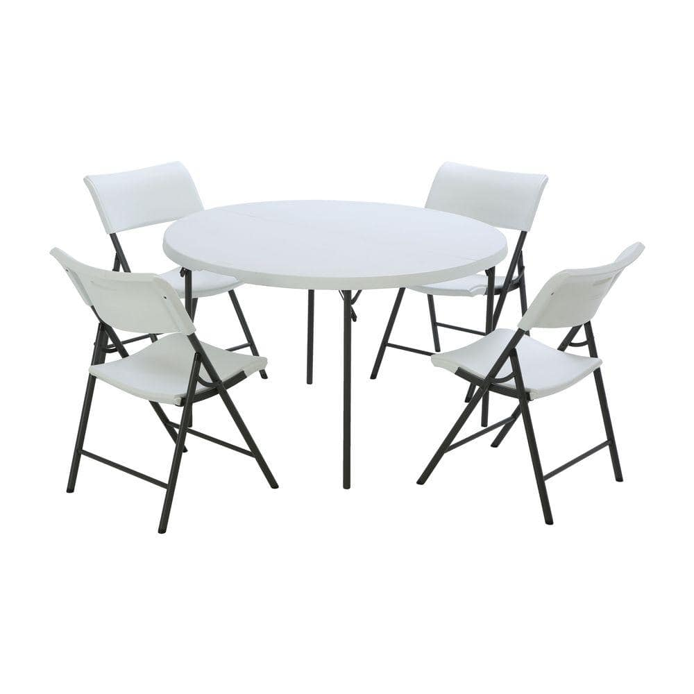Lifetime 5 Piece White Outdoor Safe Fold In Half Folding Table Set 80411 The Home Depot