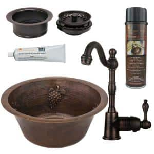 Bronze 16 Gauge Copper 16 in. Dual Mount Round Grapes Bar Sink with Faucet and Garbage Disposal Drain