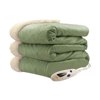 4480 Series Sage Mink With Natural Sherpa Heated Throw