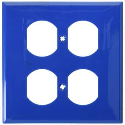 Blue 2-Gang 1-Toggle/2-Duplex Wall Plate (1-Pack)