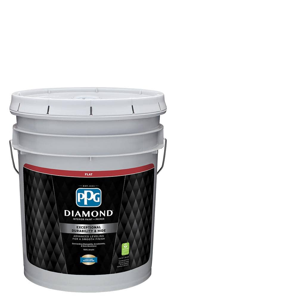 Ppg Diamond 5 Gal Pure White Base 1 Flat Interior Paint With Primer Ppg53 110 05 The Home Depot