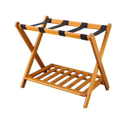 26.75 in. W x 16 in. D Honey Oak Solid Wood Luggage Rack with Shelf