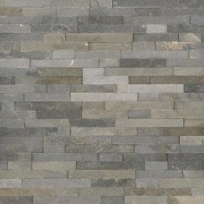 Salvador Gray Ledger Panel 6 in. x 24 in. Natural Quartzite Wall Tile (8 sq. ft./Case)