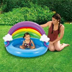 Inflatable Rainbow Baby Shade 42 in. Round 8 in. D Kiddie Pool with Soft Cushioned Base