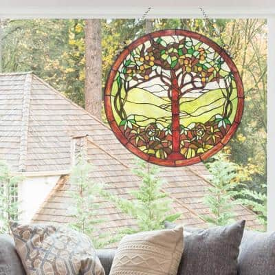 Green Tree of Life Stained Glass Window Panel