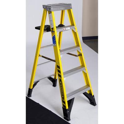 5 ft. Fiberglass Step Ladder with Shelf 375 lb. Load Capacity Type IAA Duty Rating