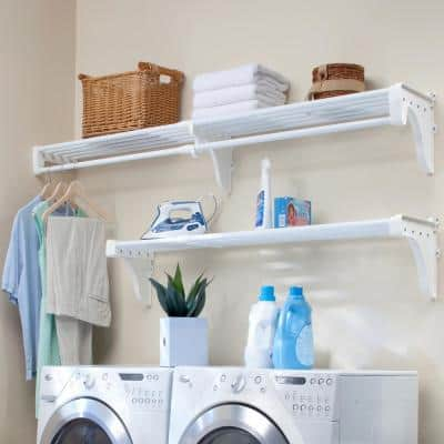 Expandable Laundry Room Shelves with Closet Rod, 40 in. W. - 75 in. W., White Wire Wall Mounted Shelf Kit with Brackets