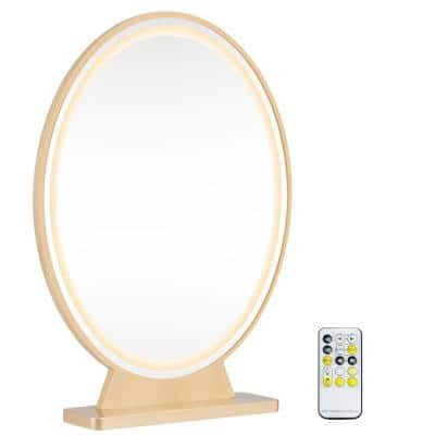 18 in. Height 24 in. Oval Tabletop Hollywood Bathroom Makeup Mirror Lighted Remote Control 4 Color Dimming in Gold