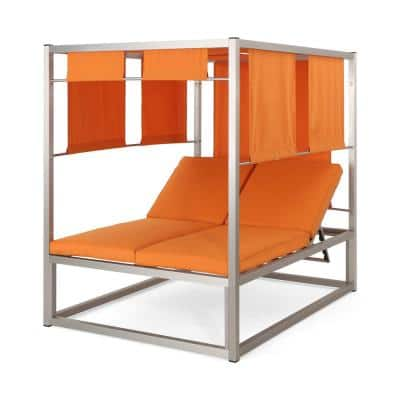 Heminger Silver Aluminum Outdoor Daybed with Orange Cushion