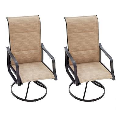 Swivel Metal Outdoor Dining Chair in Beige (2-Pack)