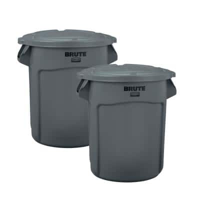 Brute 20 Gal. Round Vented Trash Can with Lid (2-Pack)